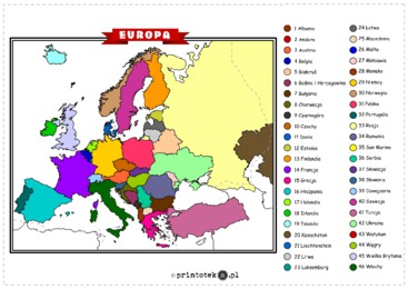 Mapa Europy Wklejki Wersja Kolorowa Printotekapl