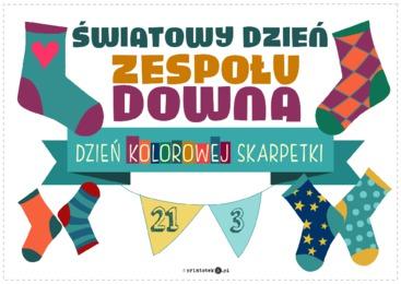 Grafika Światowy Dzień Zespołu Downa, zwany też Dniem Kolorowej Skarpetki.