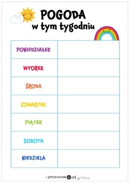 Tygodniowy kalendarz pogody. Wariant 2 - Printoteka.pl