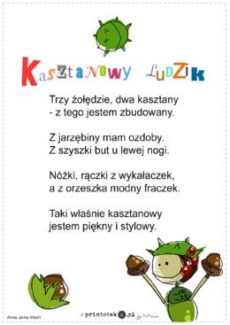 Kasztanowy Ludzik Wierszyk Printotekapl