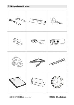 Przybory Szkolne School Objects Memory Game Printoteka Pl