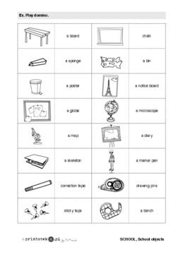 Przybory Szkolne School Objects Dominoes Printoteka Pl